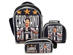 Combo morral bolso lonchera y cartuchera Juventus cristiano ronaldo OBA Design   Corporacion OBA, c.a.